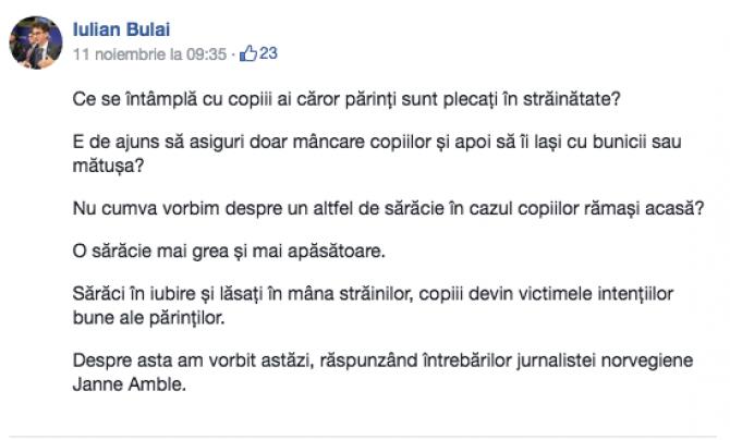Iulian Bulai - postare după editare